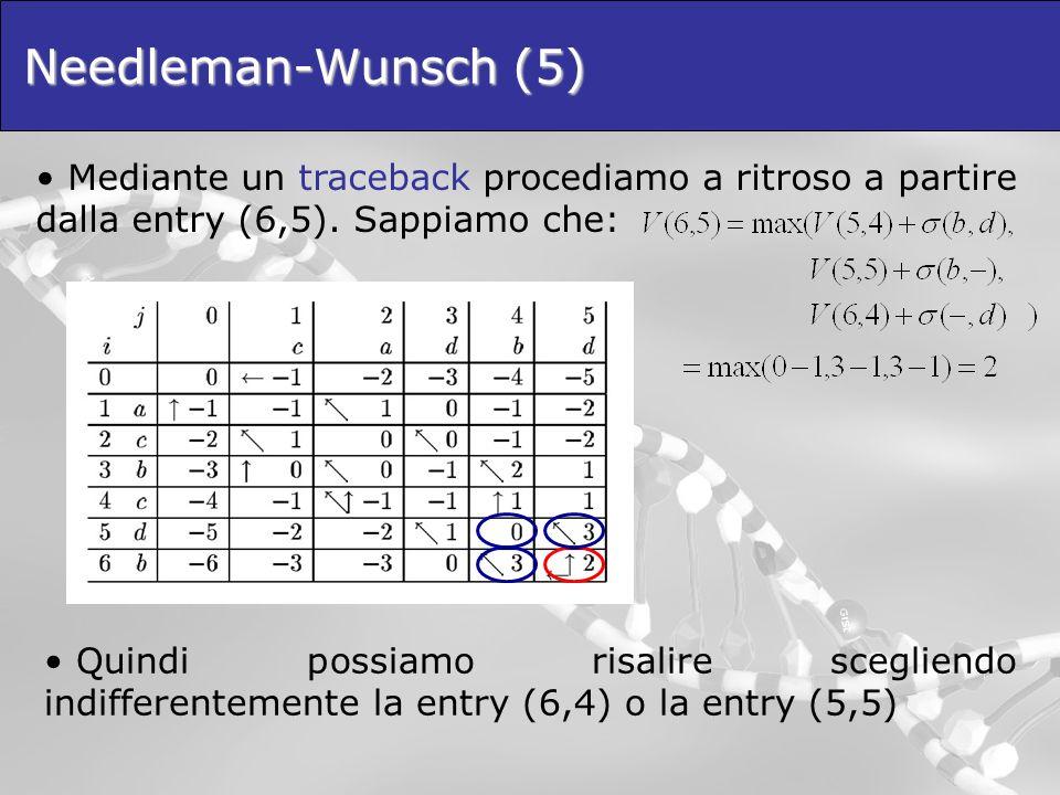 Needleman-Wunsch (5) Mediante un traceback procediamo a ritroso a partire dalla entry (6,5). Sappiamo che: Quindi possiamo risalire scegliendo indiffe