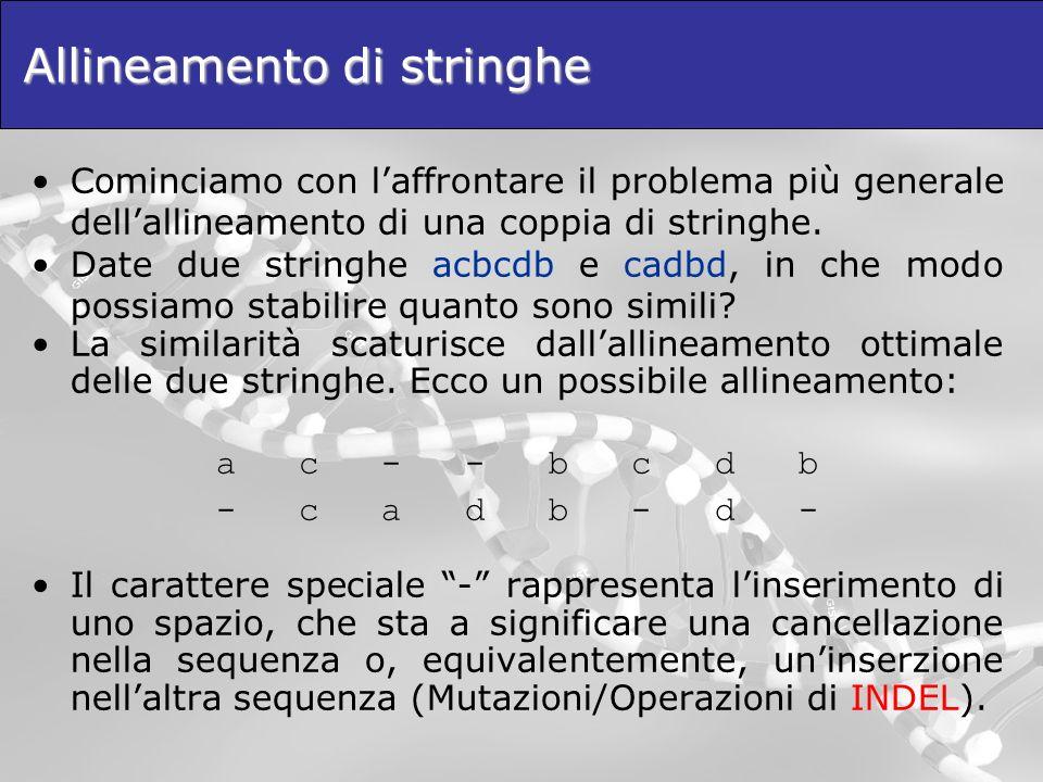Allineamento di stringhe Cominciamo con laffrontare il problema più generale dellallineamento di una coppia di stringhe. Date due stringhe acbcdb e ca