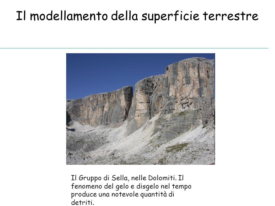 Il modellamento della superficie terrestre Il Gruppo di Sella, nelle Dolomiti. Il fenomeno del gelo e disgelo nel tempo produce una notevole quantità