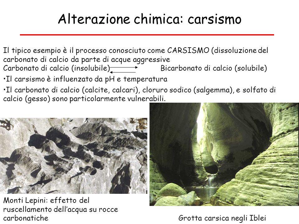 Alterazione chimica: carsismo Il tipico esempio è il processo conosciuto come CARSISMO (dissoluzione del carbonato di calcio da parte di acque aggress