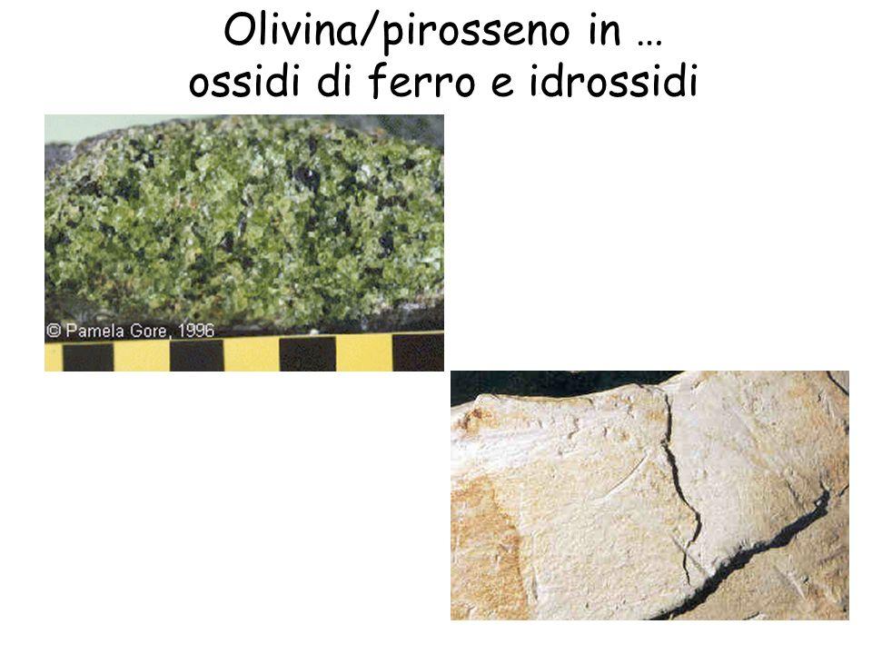 Olivina/pirosseno in … ossidi di ferro e idrossidi