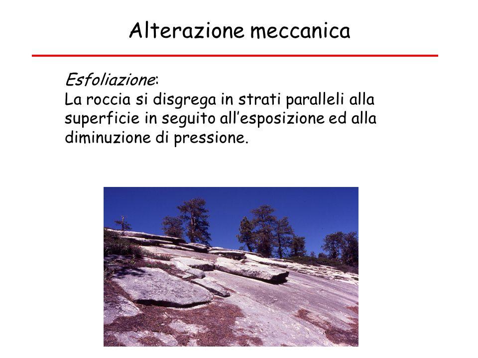 Alterazione meccanica Esfoliazione: La roccia si disgrega in strati paralleli alla superficie in seguito allesposizione ed alla diminuzione di pressio
