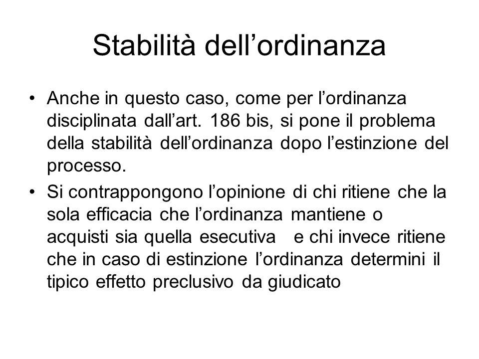 Stabilità dellordinanza Anche in questo caso, come per lordinanza disciplinata dallart. 186 bis, si pone il problema della stabilità dellordinanza dop