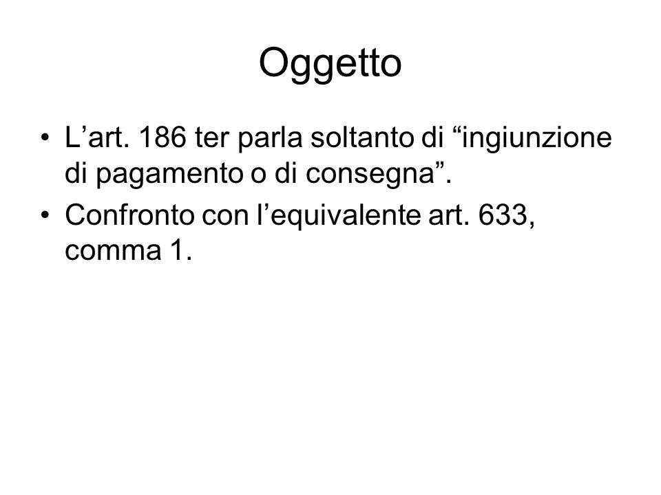 Oggetto Lart. 186 ter parla soltanto di ingiunzione di pagamento o di consegna. Confronto con lequivalente art. 633, comma 1.