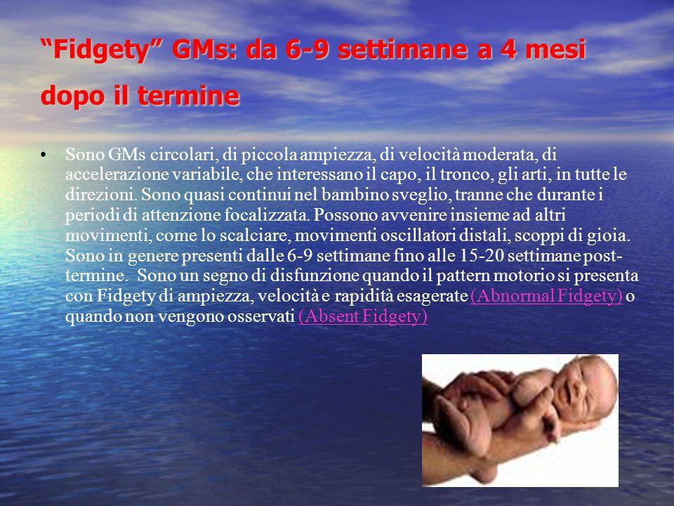 Fidgety GMs: da 6-9 settimane a 4 mesi dopo il termine Sono GMs circolari, di piccola ampiezza, di velocità moderata, di accelerazione variabile, che