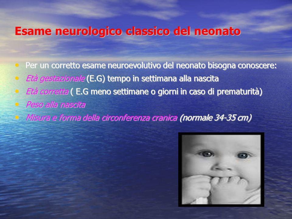 Esame neurologico classico del neonato Per un corretto esame neuroevolutivo del neonato bisogna conoscere: Per un corretto esame neuroevolutivo del ne