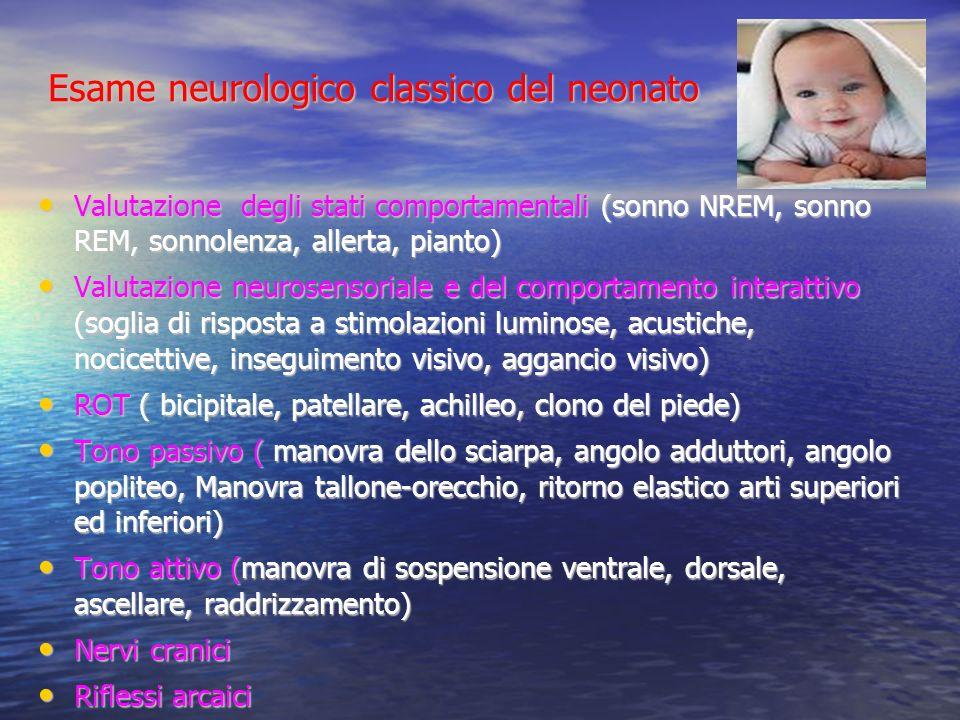 Esame neurologico classico del neonato Valutazione degli stati comportamentali (sonno NREM, sonno REM, sonnolenza, allerta, pianto) Valutazione degli