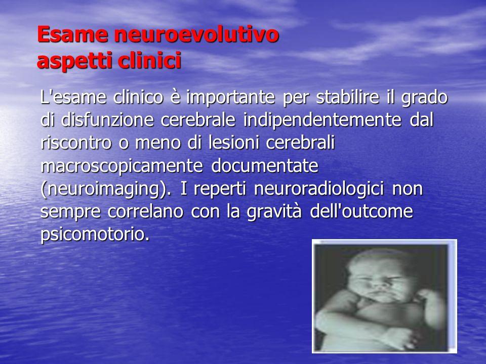 Esame neurologico classico del neonato Valutazione degli stati comportamentali (sonno NREM, sonno REM, sonnolenza, allerta, pianto) Valutazione degli stati comportamentali (sonno NREM, sonno REM, sonnolenza, allerta, pianto) Valutazione neurosensoriale e del comportamento interattivo (soglia di risposta a stimolazioni luminose, acustiche, nocicettive, inseguimento visivo, aggancio visivo) Valutazione neurosensoriale e del comportamento interattivo (soglia di risposta a stimolazioni luminose, acustiche, nocicettive, inseguimento visivo, aggancio visivo) ROT ( bicipitale, patellare, achilleo, clono del piede) ROT ( bicipitale, patellare, achilleo, clono del piede) Tono passivo ( manovra dello sciarpa, angolo adduttori, angolo popliteo, Manovra tallone-orecchio, ritorno elastico arti superiori ed inferiori) Tono passivo ( manovra dello sciarpa, angolo adduttori, angolo popliteo, Manovra tallone-orecchio, ritorno elastico arti superiori ed inferiori) Tono attivo (manovra di sospensione ventrale, dorsale, ascellare, raddrizzamento) Tono attivo (manovra di sospensione ventrale, dorsale, ascellare, raddrizzamento) Nervi cranici Nervi cranici Riflessi arcaici Riflessi arcaici