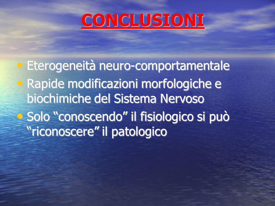CONCLUSIONI Eterogeneità neuro-comportamentale Eterogeneità neuro-comportamentale Rapide modificazioni morfologiche e biochimiche del Sistema Nervoso