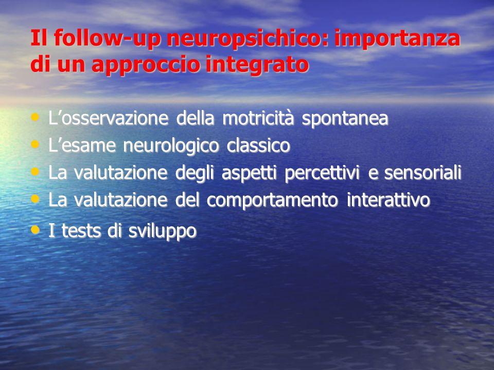 Il follow-up neuropsichico: importanza di un approccio integrato Losservazione della motricità spontanea Losservazione della motricità spontanea Lesam