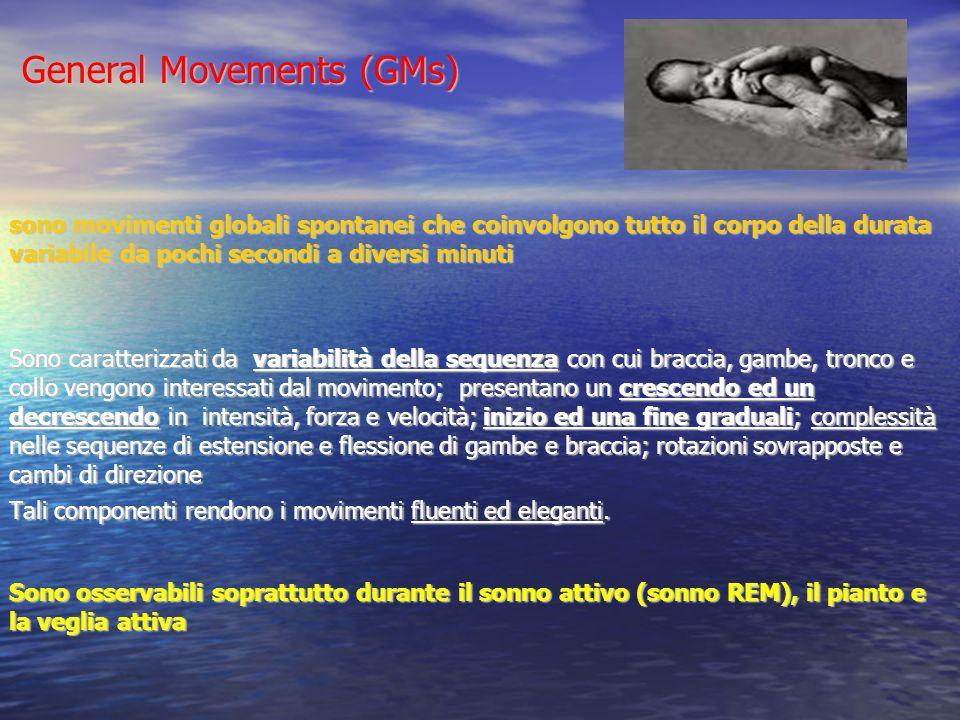 General Movements (GMs) sono movimenti globali spontanei che coinvolgono tutto il corpo della durata variabile da pochi secondi a diversi minuti Sono