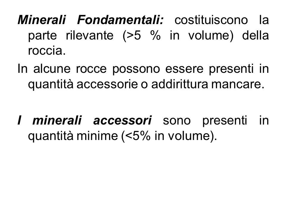 Minerali Fondamentali: costituiscono la parte rilevante (>5 % in volume) della roccia. In alcune rocce possono essere presenti in quantità accessorie