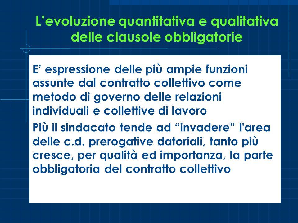 Levoluzione quantitativa e qualitativa delle clausole obbligatorie E espressione delle più ampie funzioni assunte dal contratto collettivo come metodo