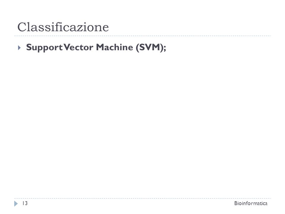 Support Vector Machine (SVM); Bioinformatica13 Classificazione