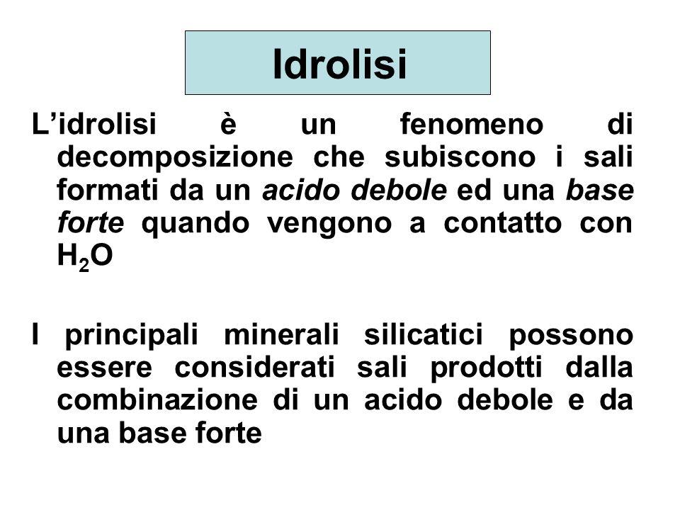 Idrolisi Lidrolisi è un fenomeno di decomposizione che subiscono i sali formati da un acido debole ed una base forte quando vengono a contatto con H 2