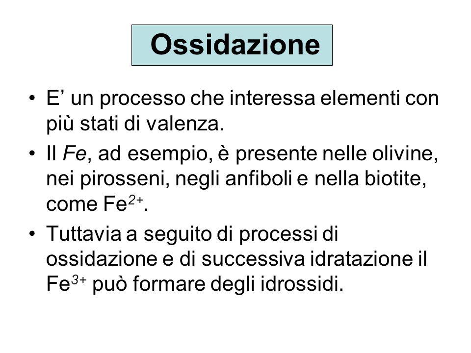 Ossidazione E un processo che interessa elementi con più stati di valenza. Il Fe, ad esempio, è presente nelle olivine, nei pirosseni, negli anfiboli