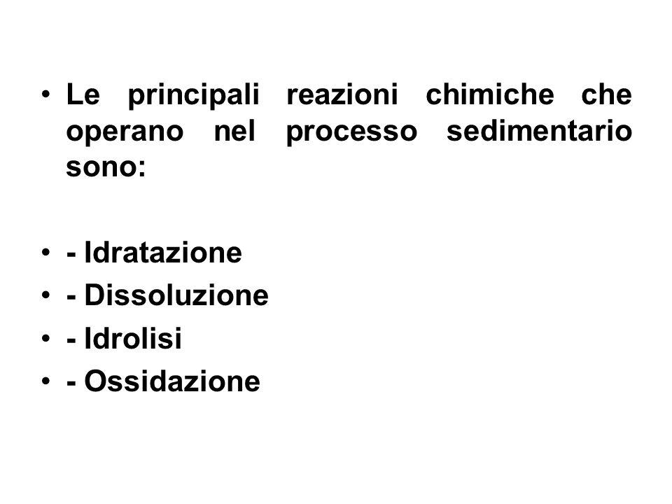 Le principali reazioni chimiche che operano nel processo sedimentario sono: - Idratazione - Dissoluzione - Idrolisi - Ossidazione