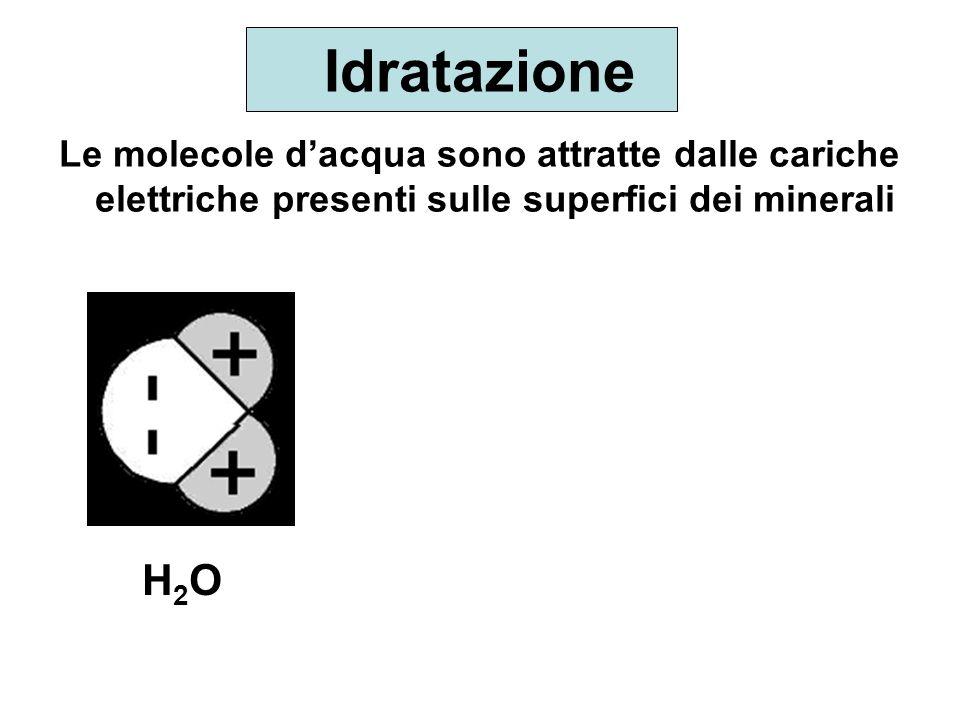 Idratazione Le molecole dacqua sono attratte dalle cariche elettriche presenti sulle superfici dei minerali H2OH2O
