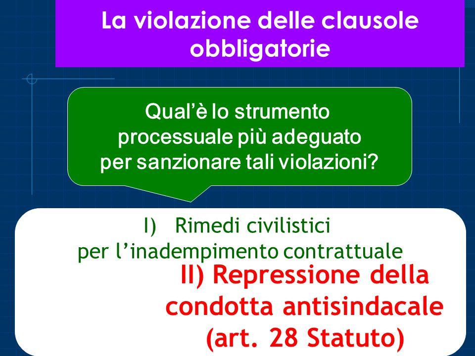 La violazione delle clausole obbligatorie Qualè lo strumento processuale più adeguato per sanzionare tali violazioni? I)Rimedi civilistici per linadem