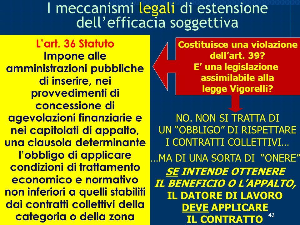 I meccanismi legali di estensione dellefficacia soggettiva Lart. 36 Statuto Impone alle amministrazioni pubbliche di inserire, nei provvedimenti di co