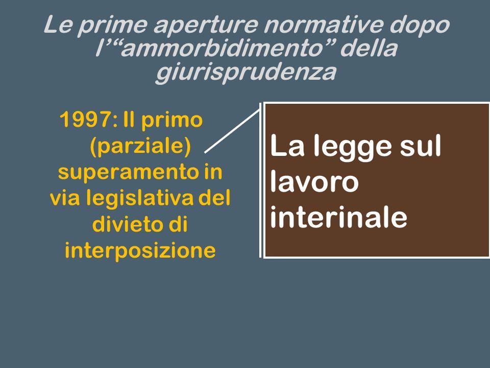 Le prime aperture normative dopo lammorbidimento della giurisprudenza 1997: Il primo (parziale) superamento in via legislativa del divieto di interposizione La legge sul lavoro interinale
