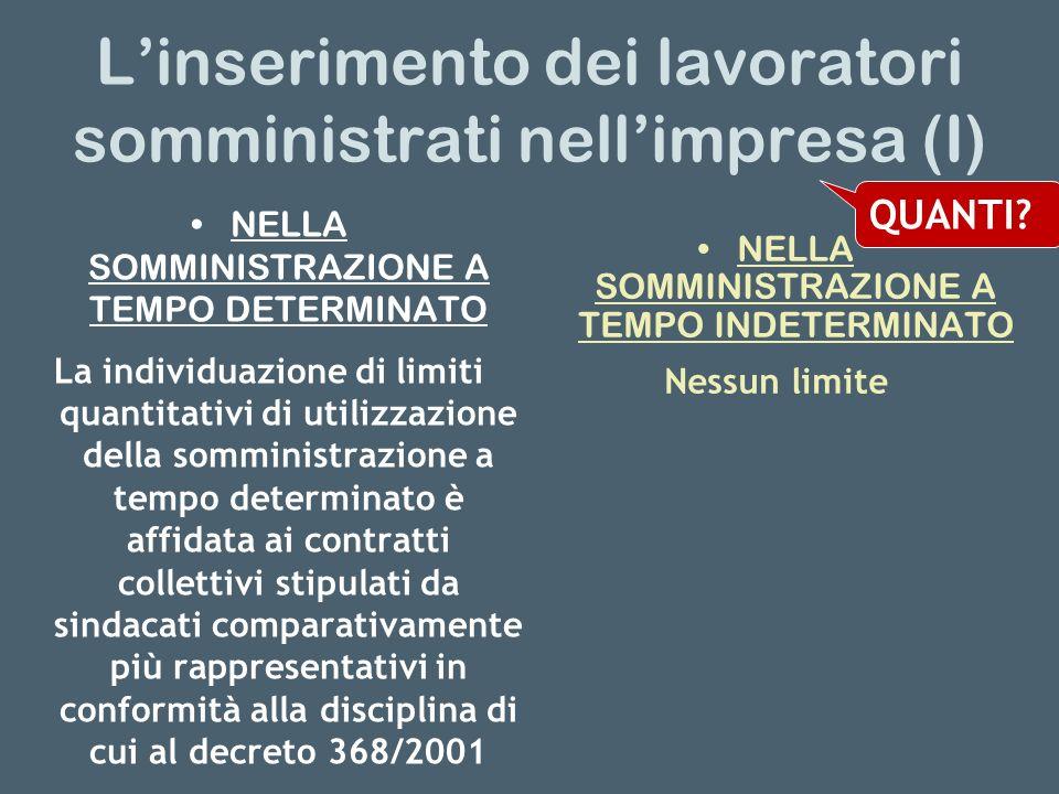 Linserimento dei lavoratori somministrati nellimpresa (I) NELLA SOMMINISTRAZIONE A TEMPO DETERMINATO La individuazione di limiti quantitativi di utili