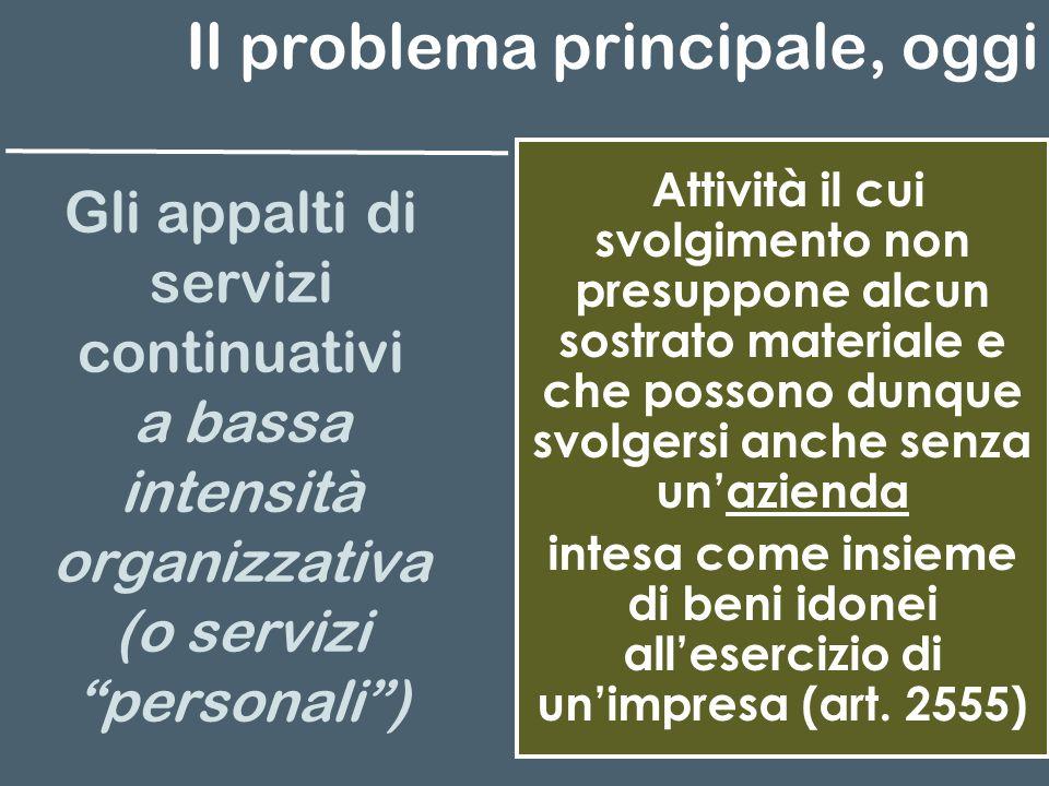 Il problema principale, oggi Gli appalti di servizi continuativi a bassa intensità organizzativa (o servizi personali) Attività il cui svolgimento non