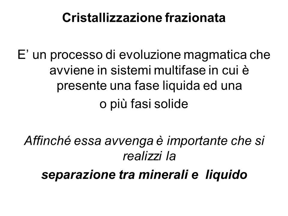 Cristallizzazione frazionata E un processo di evoluzione magmatica che avviene in sistemi multifase in cui è presente una fase liquida ed una o più fa