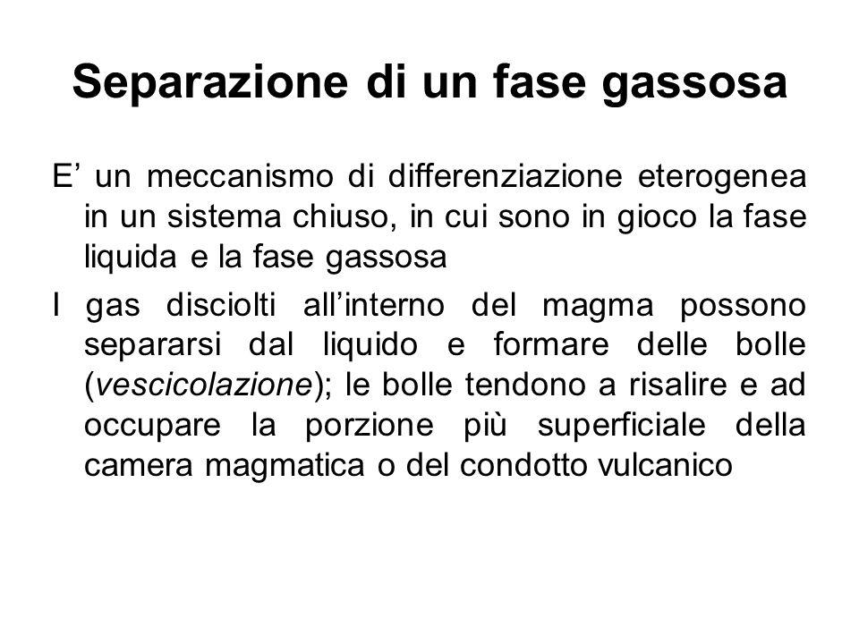 Separazione di un fase gassosa E un meccanismo di differenziazione eterogenea in un sistema chiuso, in cui sono in gioco la fase liquida e la fase gas