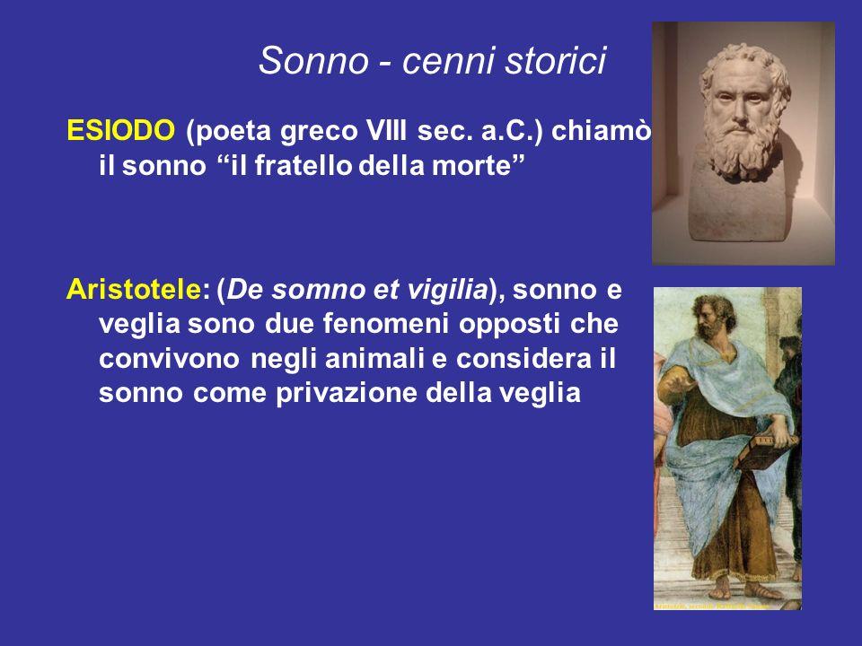Sonno - cenni storici ESIODO (poeta greco VIII sec. a.C.) chiamò il sonno il fratello della morte Aristotele: (De somno et vigilia), sonno e veglia so