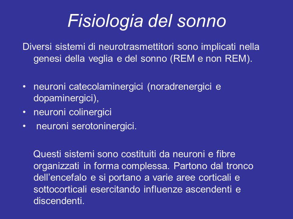 Fisiologia del sonno Diversi sistemi di neurotrasmettitori sono implicati nella genesi della veglia e del sonno (REM e non REM). neuroni catecolaminer