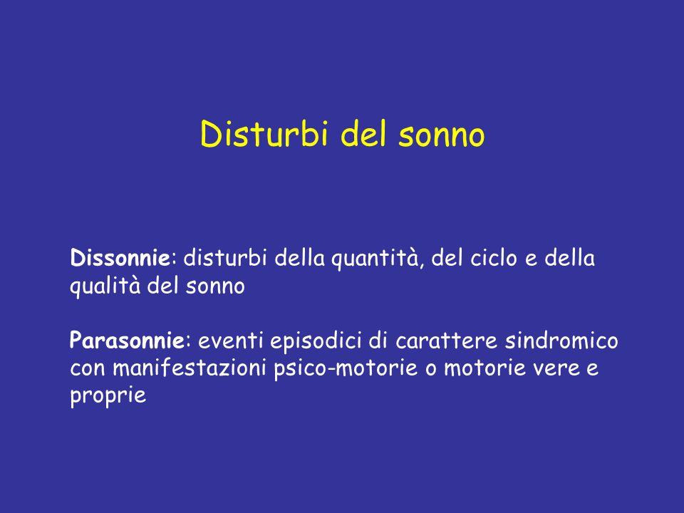 Disturbi del sonno Dissonnie: disturbi della quantità, del ciclo e della qualità del sonno Parasonnie: eventi episodici di carattere sindromico con ma