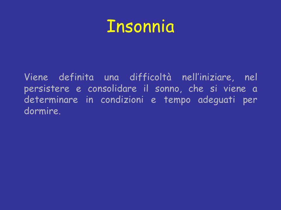Insonnia Viene definita una difficoltà nelliniziare, nel persistere e consolidare il sonno, che si viene a determinare in condizioni e tempo adeguati