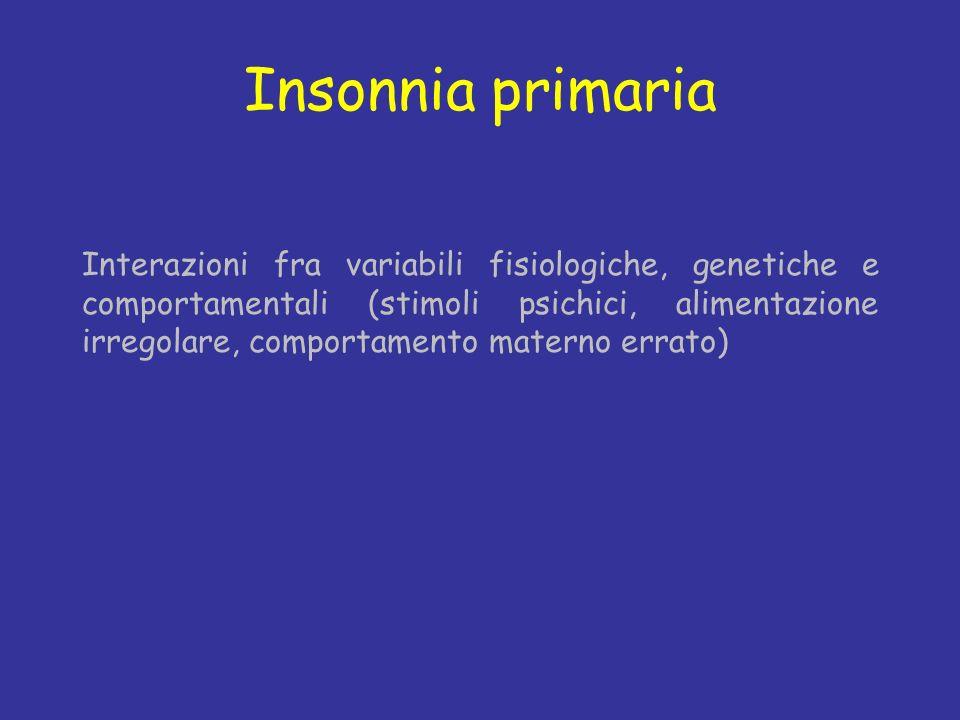 Insonnia primaria Interazioni fra variabili fisiologiche, genetiche e comportamentali (stimoli psichici, alimentazione irregolare, comportamento mater