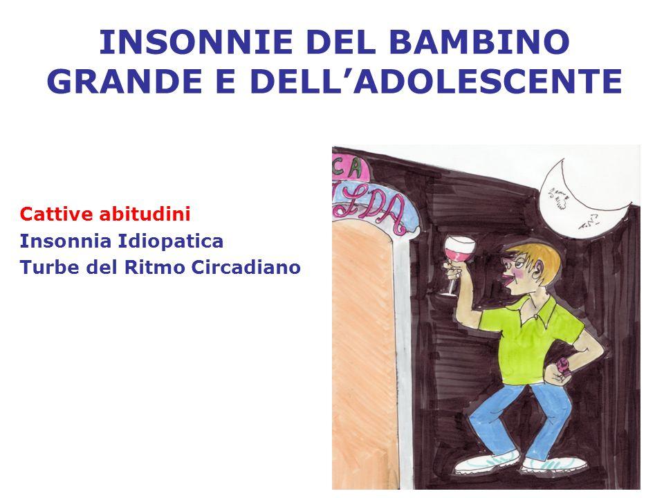 INSONNIE DEL BAMBINO GRANDE E DELLADOLESCENTE Cattive abitudini Insonnia Idiopatica Turbe del Ritmo Circadiano