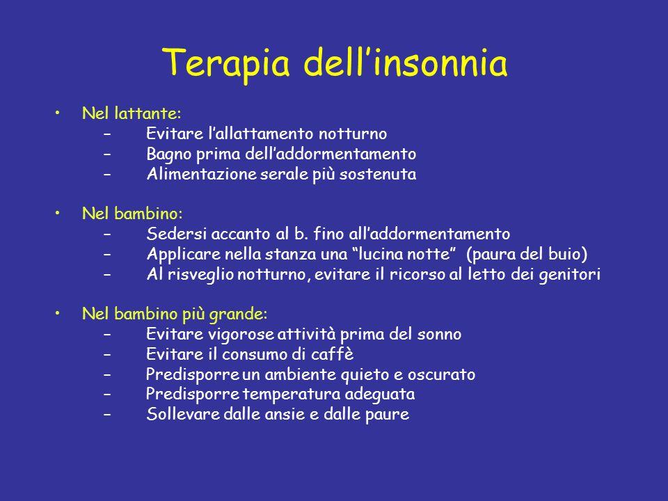 Terapia dellinsonnia Nel lattante: –Evitare lallattamento notturno –Bagno prima delladdormentamento –Alimentazione serale più sostenuta Nel bambino: –