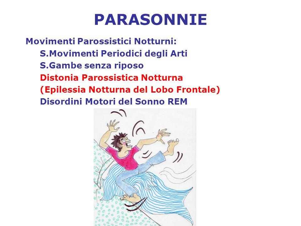 PARASONNIE Movimenti Parossistici Notturni: S.Movimenti Periodici degli Arti S.Gambe senza riposo Distonia Parossistica Notturna (Epilessia Notturna d