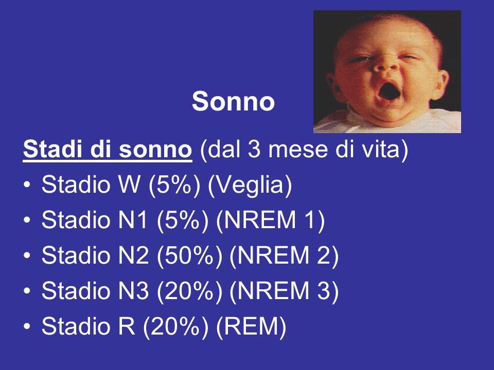 Variazioni dellorganizzazione del ciclo sonno-veglia Neonato-BambinoAdulto Tempo di sonno nelle 24 ore16 ore8 ore Organizzazione sonno-vegliaUltradiano diurno e notturno: 18-20 cicli nelle 24 ore; 9-10 cicli notturni Circadiano notturno: 4-6 cicli Proporzione (%) REM/NREM50/5020/80 Lunghezza del ciclo del sonno50-6090-100 Esordio sonnoCicli REM-NREM egualmente distribuiti durante il sonno Cicli NREM 3-4 nel primo terzo della notte e REM nellultimo terzo Maturazione del pattern EEGNREM; > stati intermedi3 stadi NREM