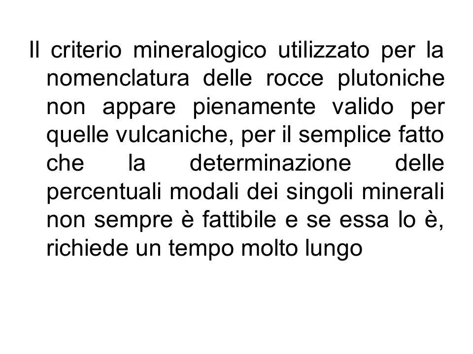 Il criterio mineralogico utilizzato per la nomenclatura delle rocce plutoniche non appare pienamente valido per quelle vulcaniche, per il semplice fat