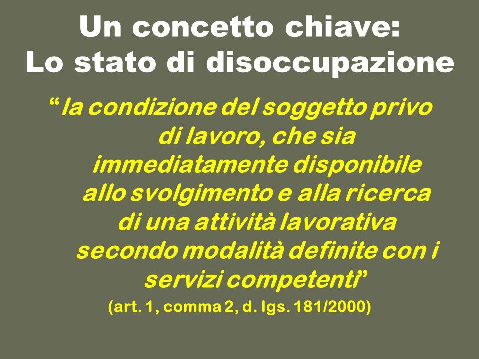 Un concetto chiave: Lo stato di disoccupazione la condizione del soggetto privo di lavoro, che sia immediatamente disponibile allo svolgimento e alla ricerca di una attività lavorativa secondo modalità definite con i servizi competenti (art.