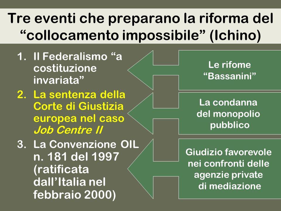 Tre eventi che preparano la riforma del collocamento impossibile (Ichino) 1.Il Federalismo a costituzione invariata 2.La sentenza della Corte di Giustizia europea nel caso Job Centre II 3.La Convenzione OIL n.