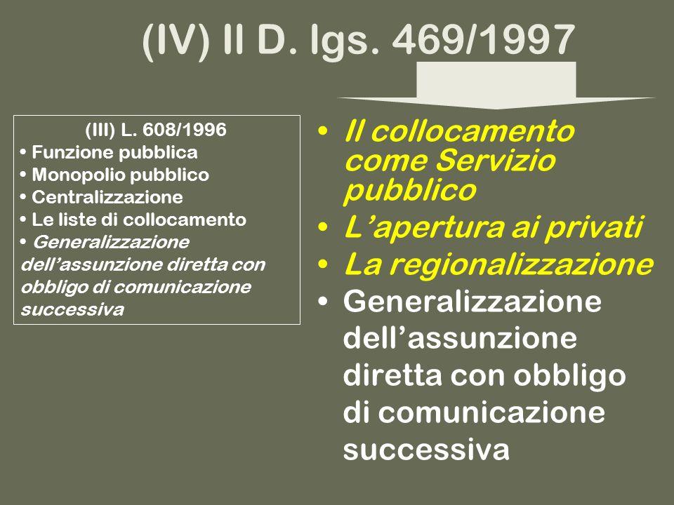 I servizi pubblici per limpiego dopo la riforma del 1997 (V) Il D.
