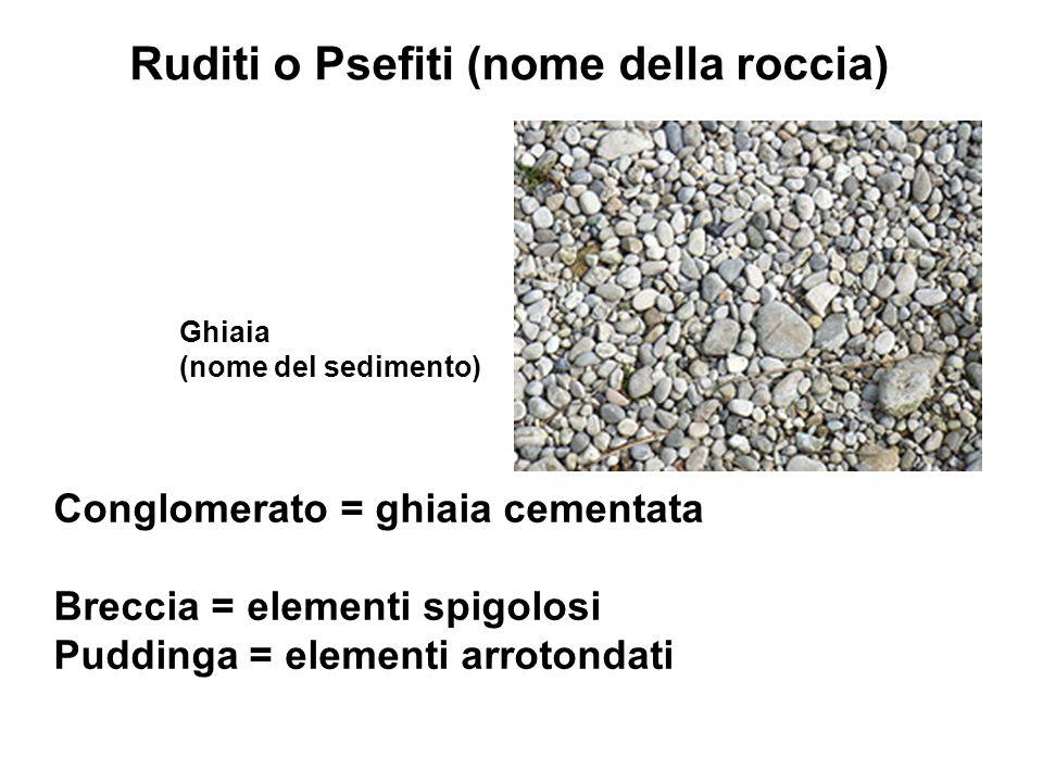 Ruditi o Psefiti (nome della roccia) Ghiaia (nome del sedimento) Conglomerato = ghiaia cementata Breccia = elementi spigolosi Puddinga = elementi arro