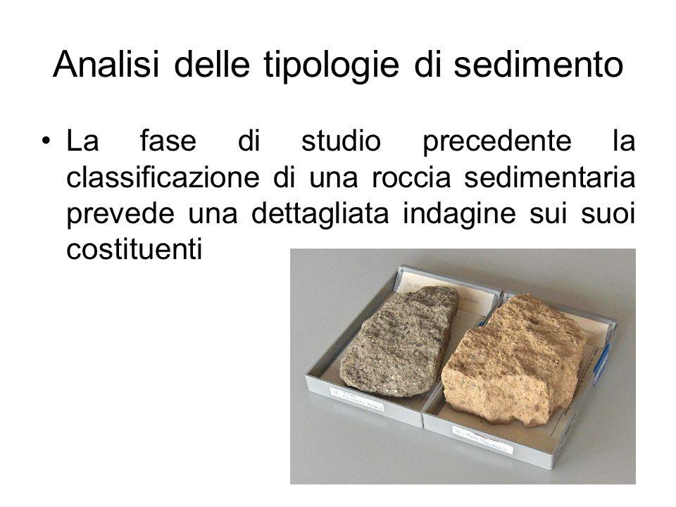 Analisi delle tipologie di sedimento La fase di studio precedente la classificazione di una roccia sedimentaria prevede una dettagliata indagine sui s