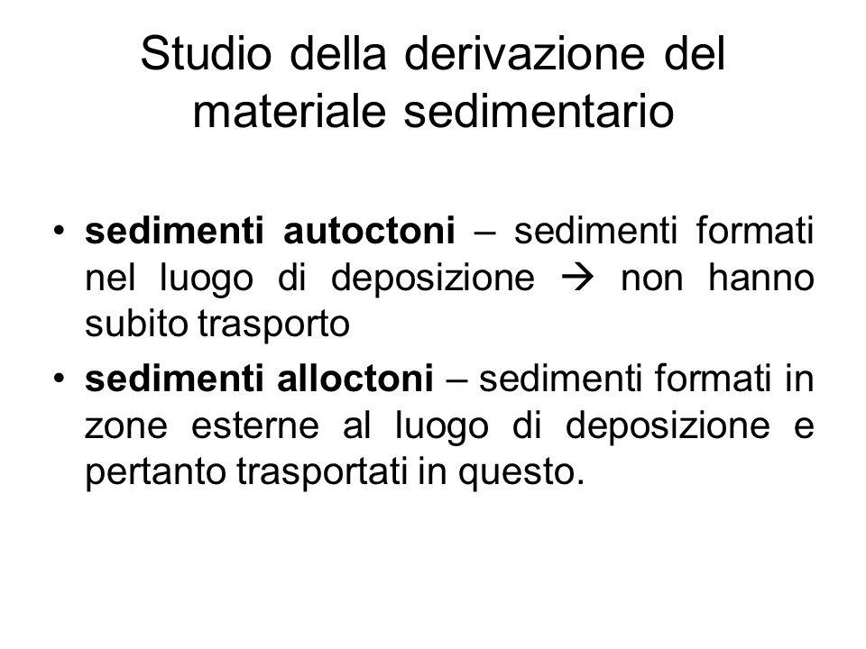 Studio della derivazione del materiale sedimentario sedimenti autoctoni – sedimenti formati nel luogo di deposizione non hanno subito trasporto sedime