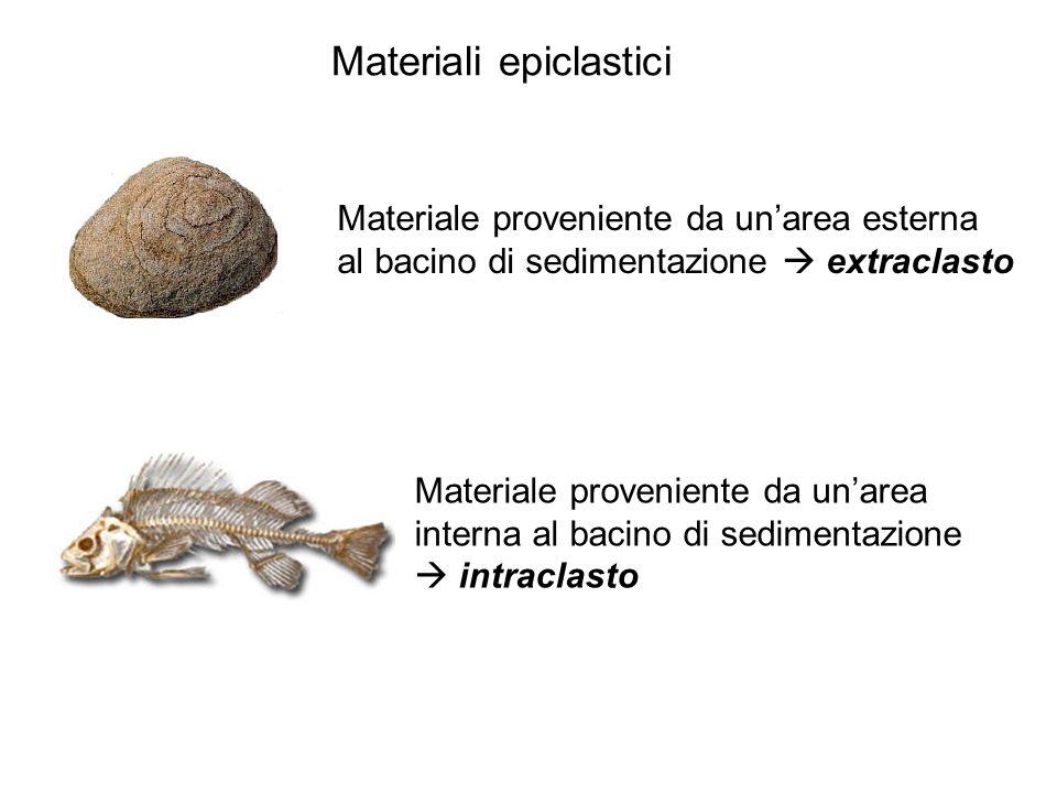 Materiale proveniente da unarea esterna al bacino di sedimentazione extraclasto Materiali epiclastici Materiale proveniente da unarea interna al bacin