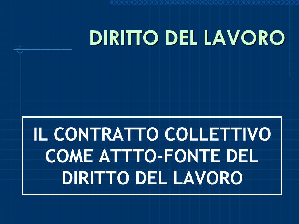 DIRITTO DEL LAVORO IL CONTRATTO COLLETTIVO COME ATTTO-FONTE DEL DIRITTO DEL LAVORO