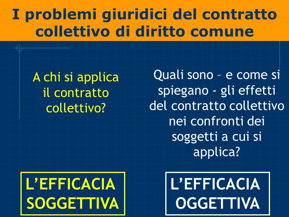 I problemi giuridici del contratto collettivo di diritto comune A chi si applica il contratto collettivo? Quali sono – e come si spiegano - gli effett