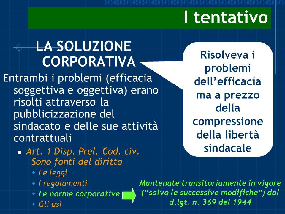 I tentativo LA SOLUZIONE CORPORATIVA Entrambi i problemi (efficacia soggettiva e oggettiva) erano risolti attraverso la pubblicizzazione del sindacato