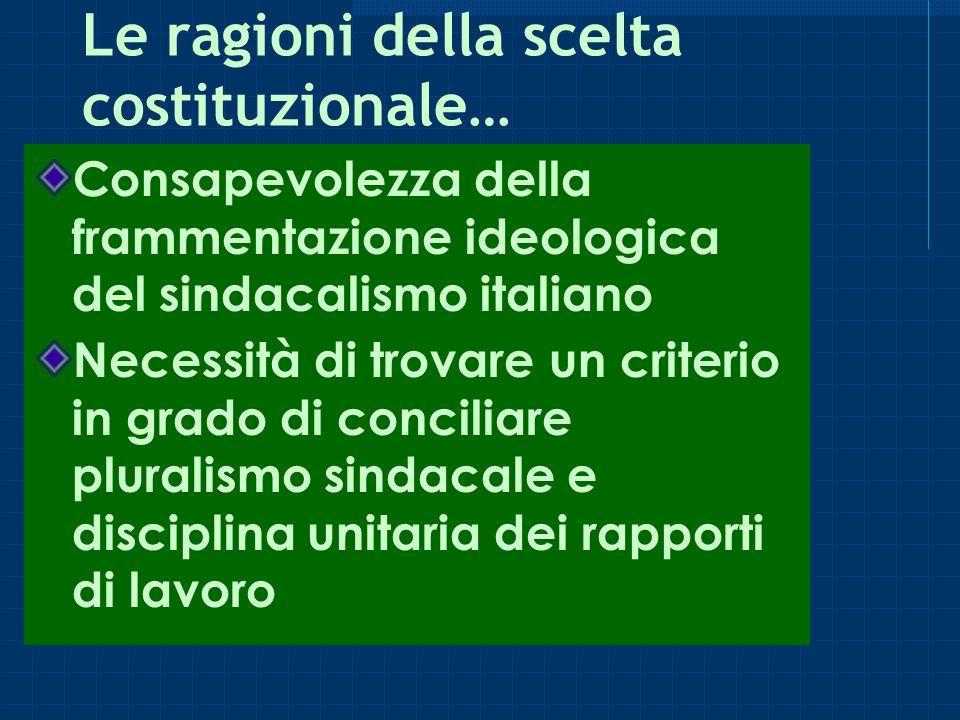 Le ragioni della scelta costituzionale… Consapevolezza della frammentazione ideologica del sindacalismo italiano Necessità di trovare un criterio in grado di conciliare pluralismo sindacale e disciplina unitaria dei rapporti di lavoro